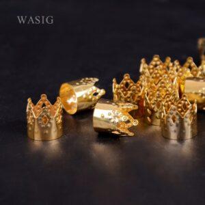 100pcs Metal Hair Braid Dread Dreadlock Beads Crown Hollow Out Design Adjustable Hair Cuffs Clips RingTube Gold Jewelry 12x10mm