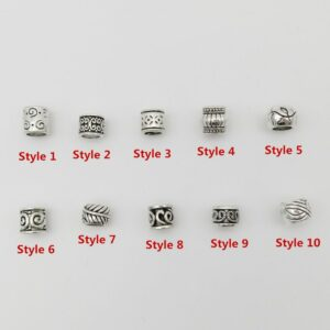 10pcs/pack Antique Silver different 10 styles hair braid dread dreadlock beads rings tube approx 5.9-6.4mm inner hole jewelry