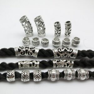 10pcs/pack Tibetan silver different styles hair braid dread dreadlock beads rings tube accessories approx 5-7mm inner hole