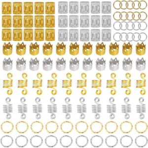 110PCS Metal African Hair Rings Beads Cuffs Tubes Charms Dreadlock Dread Hair Braids Jewelry Decoration Accessories Gold Silver