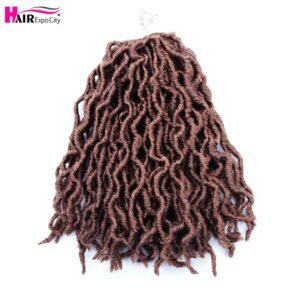 12Inch Goddess Faux Locs Crochet Hair Synthetic Wave Hair Ombre Braiding Hair Extensions Handmade 18Strands Hair Expo City