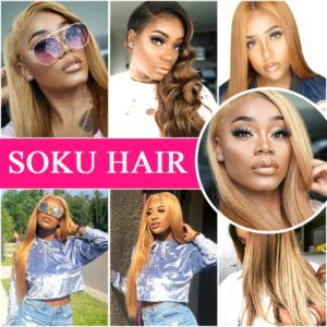 13×4 Lace Front Human Hair Wigs SOKU Brazilian Straight Brown Blonde Red PrePlucked Lace Front Wig Remy Hair Wig For Black Women