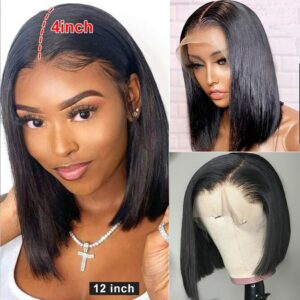 13×4 Straight Bob Wig Lace Front Human Hair Wig Pre Plucked with Baby Hair Brazilian Remy Hair Frontal Short Bob Wig Black Women
