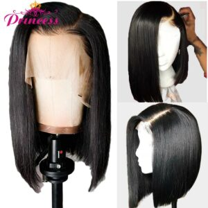 13×5 Lace Front Human Hair Wigs 150% Density Brazilian Straight Bob Lace Frontal Wig For Women Remy Princess Hair Wigs