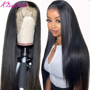 13×6 13×4 Lace Frontal Human Hair Wigs Pre Plucked Glueless Brazilian Straight 4X4 Lace Closure Wig with Baby Hair Remy KissLove