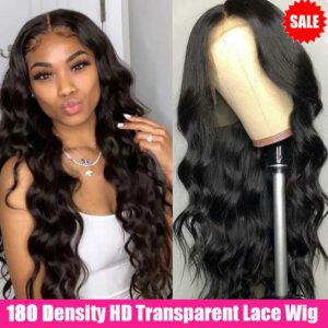 180 Density Body Wave Lace Front Wig Transparent Lace Frontal Wigs 30 Inch Wavy Lace Front Human Hair Wigs T Part Brazilian Wig