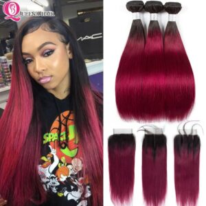 1B Burgundy Bundles With Closure Straight Ombre Human Hair Bundles With Closure Peruvian Colored Ombre 3/4 Bundles With Closure