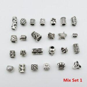25Pcs/Lot mix metal set for hair braid dread dreadlock beads tube rings Jewelry dreadlock accessories