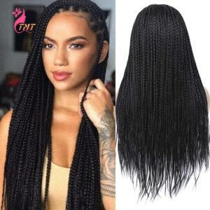 26 Inch Long Synthetic Wigs Box Braided Wigs For Black Women Long Braided Wig Synthetic Heat Resistant Fiber Ombre Braided Wigs