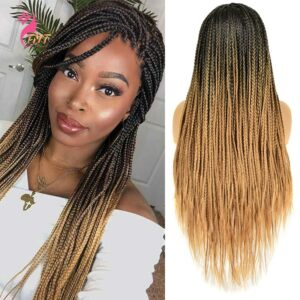 26 Inch Ombre Long Synthetic Wigs Box Braided Wigs For Black Women Braided Wig Fake Scalp Heat Resistant Braiding Hair