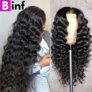 28 30 inch Loose Deep Wave Lace Front Human Hair Wigs For Black Women 13×1 T Part Lace Wig 4X4 Lace Closure Wig Prelucked Hair