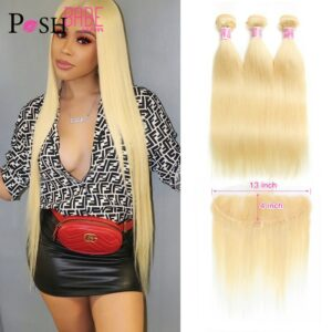 613 Bundle with Frontal Honey Blonde Colored 13×4 Lace Frontal with Straight Human Hair Extensions 2 3 4 Brazilian Hair Bundles