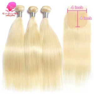 613 Honey Blonde Human Hair Straight Brazilian Hair Weave Bundles with Closure 4×4,613 Blonde Hair Deals 3 4 Bundles and Closure