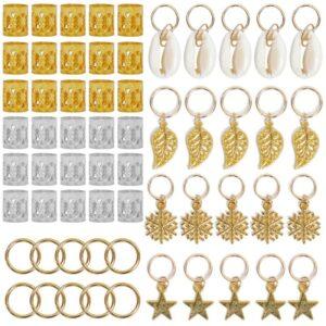 80pcs Gold Hair Braid Dreadlocks Beads Hair Leaf Star Diy Hair Clip Hair Cuffs Dread Tube Charm Dreadlock Accessaries