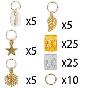 80pcs Gold Hair Braid Dreadlocks Beads Hair rings Leaf Star Diy Hair Clip Hair Cuffs Dread Tube Charm Dreadlock Accessaries