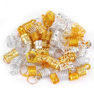 90PCS Golden Metal African Hair Rings Beads Cuffs Tubes Charms Dreadlock Dread Hair Braids Jewelry Decoration Accessories