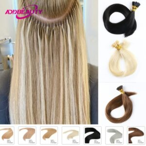 Addbeauty Straight I Tip Hair Extensions 1g/pcs 0.8g/pcs 50pcs/Set Keratin Capsules Remy Human Natural Brown 613 Blonde Color