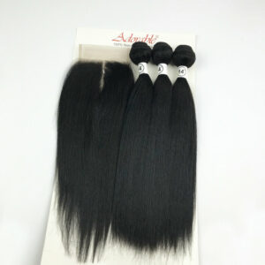 Adorable Natural Human Hair Blend 3 1,Animal Mixed Synthetic Hair Bundles with 4*4 Lace Closure Silk Straight Packet Hair Weave