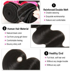 AliPearl Brazilian Body Wave 3 Bundles With Frontal Closure Brazilian Hair Weave Bundles With Frontal 13×4 Remy Hair Extension