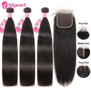 AliPearl Hair 100% Human Hair Bundles With 4×4 Lace Closure Brazilian Straight Hair Weave 3 Bundles Ali Pearl Hair Extension