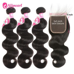 AliPearl Hair Body Wave Bundles With 5×5 Lace Closure Brazilian Hair Weave Bundles With Closure Remy Hair Extension