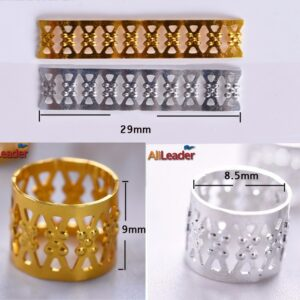 Alileader Tube Beads Golden Silver Rings For Braids Jewelry Ring Dread Dreadlock Beads Adjustable Braid Cuffs Hollow Hair Beads