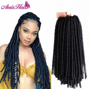 Amir Crochet Braids hair Soft Dread Locks Crochet Braids 14 inch Straight Hair Extensions 30rootsFaux Locks Crochet Braids Black