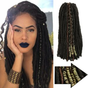 BELLA 20inch Dreadlocks Crochet Braids Jumbo Dread Hairstyle 10 Stands/Pack Gold Synthetic Faux Locs Braiding Hair Extensions