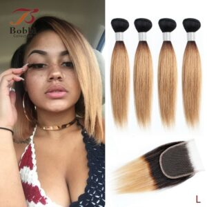 BOBBI COLLECTION 50g/pc 4 Bundles with Closure Indian Straight Non-Remy Human Hair Short Bob Style Ombre Honey Blonde Brown