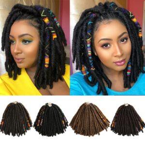 Bella Crochet Hair Dreadlocks Faux Locs Braiding Hair Extensions Synthetic Dreadlock Jumbo 12-26 inch 12 Strands Crochet Hair