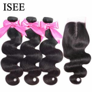 Body Wave Human Hair Bundles With Closure ISEE HAIR Bundles With Frontal Brazilian Body Wave Hair Weave Bundles With Closure