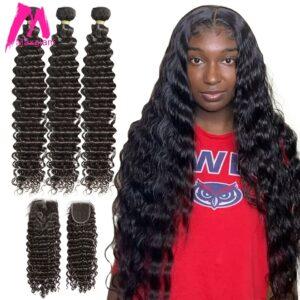 Brazilian Deep Wave Bundles With Closure Human Hair Extension 30 40 Inch Natural Weave 3 4 Bundles For Black Women Hd Lace Remy