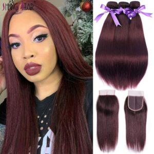 Brazilian Straight Hair Colored Burgundy Bundles With Closure 99J Red 3 Bundles With Closure Human Hair Bundle Remy Shining Star