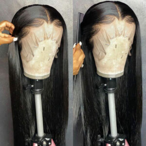 CHEAP HD Transparent Lace Frontal Wigs 30 Inch Lace Front Wig T Part 180 Density Brazilian Straight Lace Front Human Hair Wigs