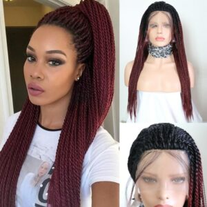 Charisma Ombre Burgundy Wigs 2X Twist Braids Braided Wig Heat Resistant Synthetic Lace Front Wig for Black Women Cosplay Wigs