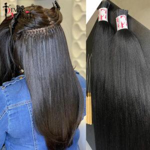 Croase Light Yaki Straight I Tip Hair Extensions Textured Straight I Tip Microlinks For Women Brazilian Virgin Hair Ever Beauty