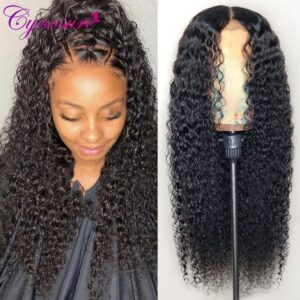 Cynosure 13×4/13×6 HD Transparent Lace Front Human Hair Wigs for Black Women Remy Brazilian Kinky Curly 4×4 Lace Closure Wig