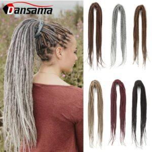 Dansama Dreadlocks Hair Extension Handmade Dreads Synthetic Braiding Hair Blonde Black Ombre Color 20 Inch Faux Locks For Women