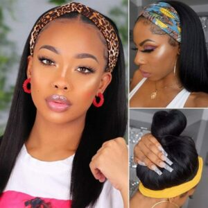 Easy Install Yaki Straight Lace Front Wigs Natural Color Synthetic No Gel Headband Wig Heat Resistant Fiber Hair for Black Women