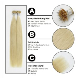FOREVER HAIR Remy Nano Ring Links Human Hair Extensions 0.8g/s 16″ 18″ 20″ Keratin Straight European Micro Beads Hair 50 Pieces