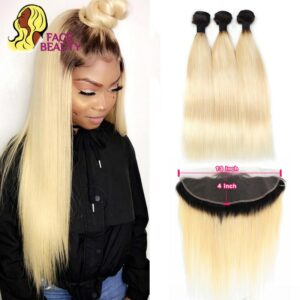 Facebeauty 1B 613 Dark Root Blonde Ombre Brazilian Remy Straight Hair 3/4 Bundle with 13×4 Lace Frontal Closure Free Middle Part
