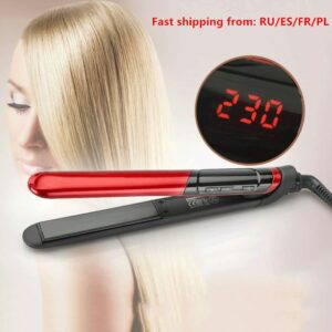Hair Iron Flat 2-in-1 ceramic coating Hair straightener comb hair Curler beauty care Iron healthy beauty curling irons flat iron