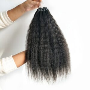 Hot Sale High Quality Indian Virgin Human Natural Black Kinky Straight Micro Ring Hair Extensions