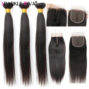 Human Hair Bundles With Closure Straight Hair Bundles With Closure Brazilian Hair Weave Bundles With Middle Part Lace Closure