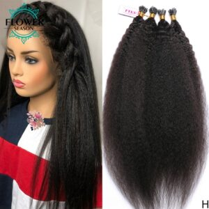 I Tip Hair Extensions Pure Colored Indian Hair Machine Remy Human Hair 1g/s 50g 100g Extensions I Tip Hair Flowerseason