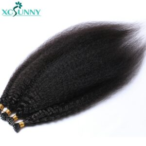 Itip Human Hair Extensions Kinky Straight Remy Brazilian Stick I Tip Hair Extensions For Black Women 0.95g/strand 16-24″ xcsunny