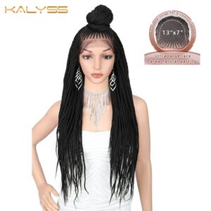 Kaylss 13×7 Hand Braided Wigs 30 inches Long Synthetic Lace Front Wig for Black Women Box Braid Wig Cornrow Braids Lace Wigs
