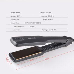 Kemei KM329 Straightening Irons Fast Heating Flat irons Professional Tourmaline Ceramic Plate Hair Straightener