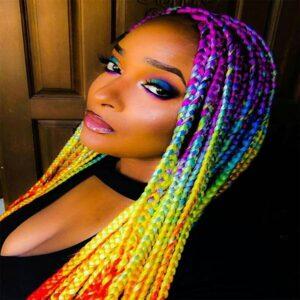 LVHAN Braid Headwear Dreadlocks wig men and women small dreadlocks African black Nepal gradient multi-color braided hair