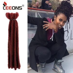 Leeons 100% Kanecalon Synthetic Soft Dread Hair Wool Dreads locks Extension Crochet Braiding Hair For African Women and Children